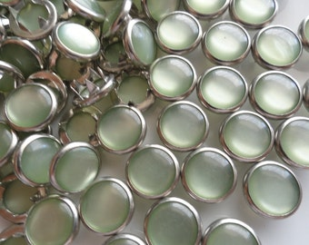 25 Sage Green Pearl Snap Sets - 4-Part No-Sew Size 16