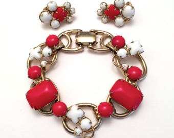Red Bracelet and Earrings Set Demi Parure Kafin NY? Juliana?