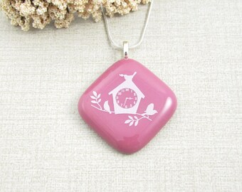 Birdhouse Pendant - Rose Fused Glass Birdhouse Necklace - Clock Pendant - Rose Glass Bird Pendant - Handmade Fused Glass Bird Jewerly