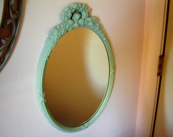 Oval mirror wall painted vintage mirror retro chic decor syroco style mirror homco mirror upcycled vintage