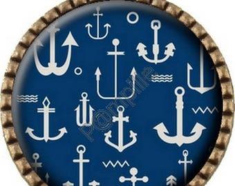 Bronze pendant Cabochon - anchors Navy (606)