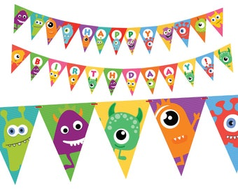 Little Monster Birthday Party Banner, Monster Birthday Decorations, Funny Monsters Kids Party, Printable PDF, Instant Download
