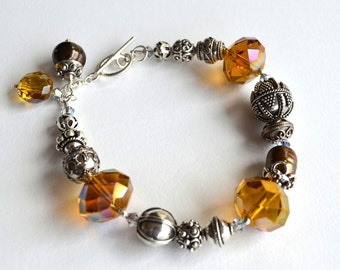 Bold silver Bali bead and glam crystal chunk bracelet