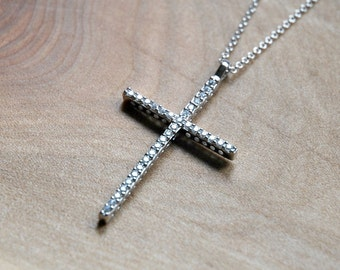 Diamond cross etsy diamond cross necklace sterling silver large cz crystal cross pendant simple mozeypictures Image collections