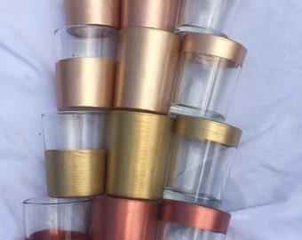 12 Votive Candle Tea Light Holders Wedding Party Favors Table Decoration Centerpiece Decor Reception Metallic Gold Rust Copper Rose