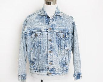 """Vintage LEVI'S Denim Jacket - 1980s Acid Wash Blue Jean Jacket - Large / XL 48"""""""