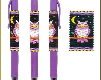 Purple Night Owl Pilot G2 Peyote Pen Cover by Kristy Zgoda