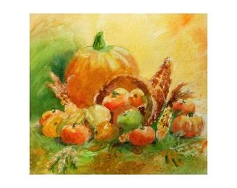 Original Watercolor * PUMPKIN & CORNUCOPIA  * Fall / Autumn Series * Small Art Format by Rodriguez