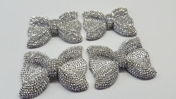Metallic Silver Large Flat Back Chunky Resin Rhinestone Embellishment Bows C13