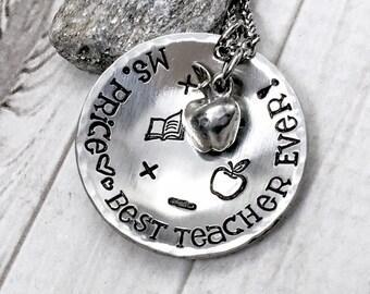 Teacher Gift - Teacher Necklace - Best Teacher Ever - Teacher Appreciation Gift - Teacher Jewelry