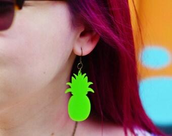 Pineapple Statement Earrings in Neon Green | Nickel Free Dangle Earrings | Pantone Colour of the Year Greenery | Pineapple Jewellery