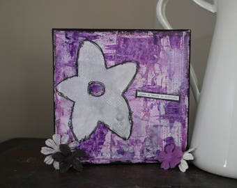 There is Beauty in Simplicity - 8x8 Mixed Media Original Canvas