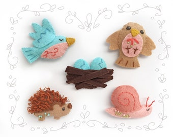 Felt Animals Plush Pattern, Woodland Creatures Set 3, PDF Plush Sewing Pattern, Woodland Animals, Bird, Hedgehog, Snail, Felt Ornaments