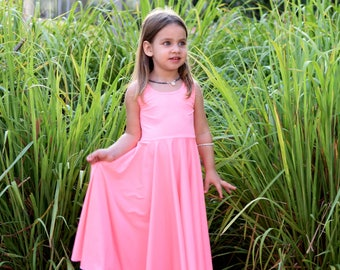 Girls Peach Dress, Little Girls Dress, Spring Dress, Girls Dress, Girls Maxi Dress,  Toddler Dress,  Summer Dress