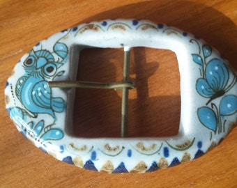 Vintage Ceramix Handmade Belt Buckle 1970's