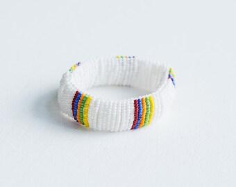 bracelet perles de verre /blanc et multicolore/ fait main/ reversible