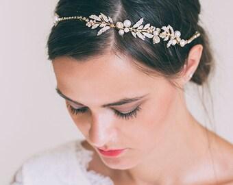 Bridal Headband, Bridal hair chain, Bridal hair vine, Gold Hair Vine, Rose gold hair vine, Bridal headpiece, Gold leaf hair vine