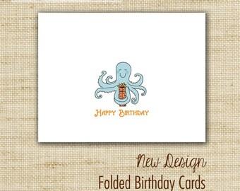 Homemade birthday cards - Birthday Card Variety Set - Glittered Eco-Friendly Folded Birthday Cards
