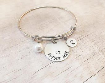Engagement Gift for Bride - Future Mrs - Personalized Bracelet - Bridal Shower Gift - Bridal Jewelry