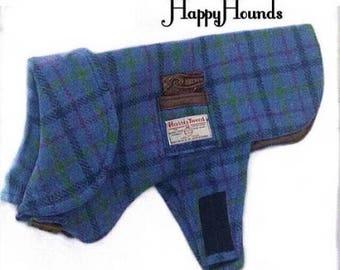 Genuine Harris Tweed Blue & Green Soft Cheque Dog Coat With Locally Manufactured Silk pocket.