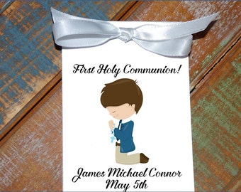 Personalized First Holy Communion Religious Flower Seed Packets Party Favors Baptism Confirmation Little Boy Praying Party Favors Keepsakes