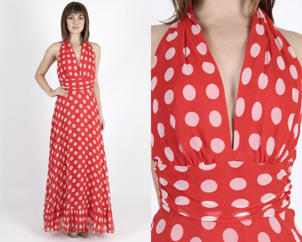 Maxi-Kleid Chiffon-Kleid 80er Jahre Kleid rot Kleid langes