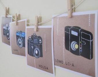 Lomography Camera Art Prints Retro Home Decor Holga Diana Zenit Lomo LCA 4x4 Camera Lovers Geekery Wall Art, Brown, Black, White