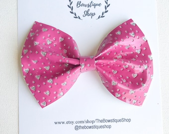 Hot Pink Hearts Sparkle Bow