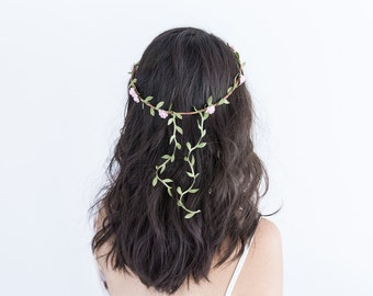 pink hanging garden rose leaf hair wreath circlet // flower crown dainty whimsical romantic floral headpiece festival