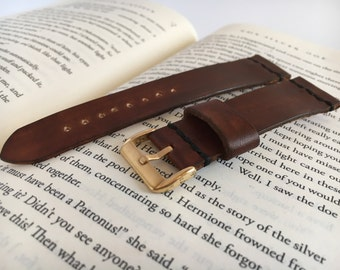 Brown leather watch band personalized Gold buckle watch strap 12 mm 14 mm watch strap 16 mm 18 mm watch strap 20 mm 22 mm watch strap 24 mm