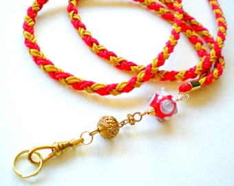 Hand Braided and Beaded id Badge Lanyard - 49'ers Red and Gold