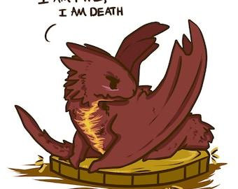 Chibi Smaug le Dragon je suis feu, je suis mort le Hobbit fanart imprimer