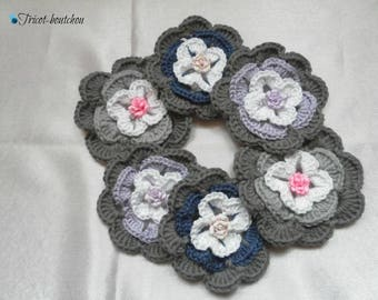 Appliques to sew or stick crochet flowers