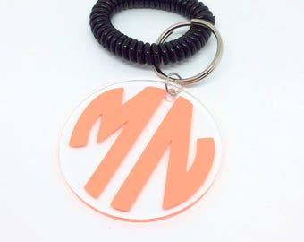 Monogram Keychain, Initial keychains, Gift for her, Birthday gift, Acrylic keychain, BagTag, Spiral keychain wristlet, tassel keychain-Black