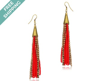 Gold & Red Beaded Earrings