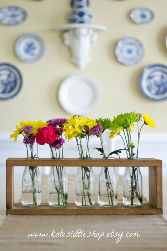 Wooden milk bottle table centerpiece country home decor mightylinksfo