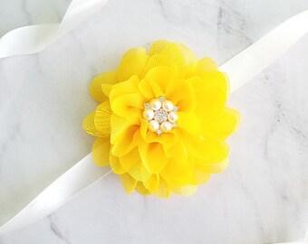 YELLOW Flower Girl Sash, Yellow Bridesmaids Sash, Yellow Girl Dress Sash, Simple Sash Yellow Belt, Yellow Maternity Sash, Girl Sash Yellow