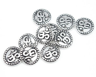 Om Charms Antique Silver Charms Aum Charms TierraCast OM COIN Drops Mindfulness Charms Silver Yoga Charms Yoga Jewelry Charms (P361)