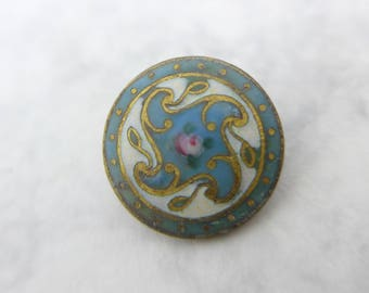 Antique Vintage Art Nouveau Hand Painted Flower Champleve Enamel Button