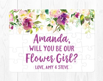 Flower Girl Proposal Puzzle Will You Be My Flower Girl Puzzle Proposal Purple Flower Girl Proposal Gift Pink Flower Girl Proposal Card Fun