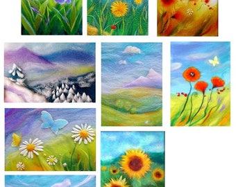"""Dix cartes """"fleurs et paysages"""""""