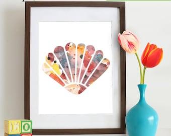Watercolor Sea Shell Print, Watercolor silhouettes, Sea Life, Beach theme, Nursery Print, Ocean print, Under the Sea, Item  WC007C