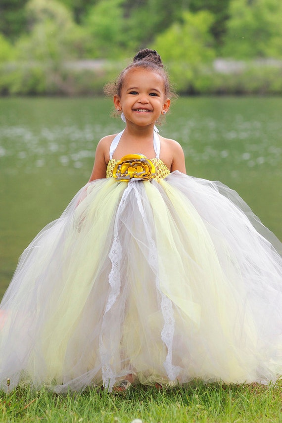 Gray and yellow flower girl tutu dress with lace accent mightylinksfo