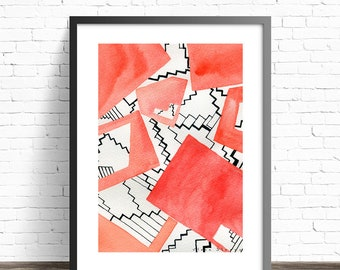 Red Wall Art Print . Architectural Wall decor . Abstract Red Painting Geometric . Wall Art Living Room . Gift for architect . Red Wall decor
