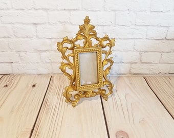 Vintage Heavy Cast Ornate Brass Metal Standing Frame