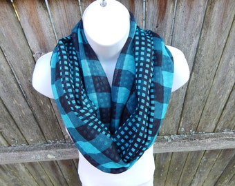 Green and Black Plaid Infinity Scarf