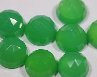 8mm Rose Cut Chrysoprase Chalcedony- 1 Cab