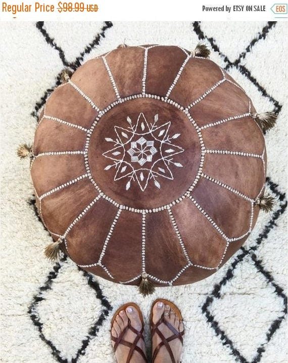 30% OFF Pouf Sale// Tan Brown Moroccan Leather Pouf with Tassels & Pompoms >gifts, wedding gifts, anniversary gifts, foot stool