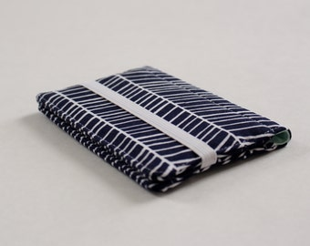 Navy Blue and Mint Wallet; Navy Herringbone Slim Wallet; Mint and Navy Women's Wallet, CHOOSE your SIZE  - PREORDER