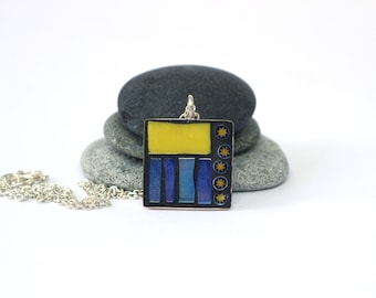 Yellow and Blue Pendant, Mosaic Pendant Jewellery, Blue Jewellery, Yellow Jewellery, Mosaic Jewellery, Mosaic Necklace, Mosaic Gift, Square